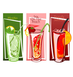 coctails set free hand drawn vector image