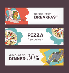 colorful horizontal banner templates with hand vector image