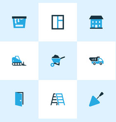 construction icons colored set with door house vector image