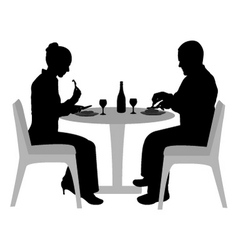 couple sitting and dining vector image