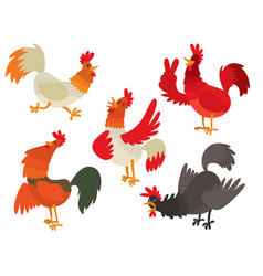 Cute cartoon rooster chicken vector