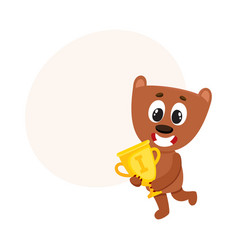 cute little teddy bear character champion holding vector image