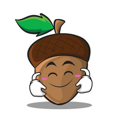 Cute smile acorn cartoon character style vector