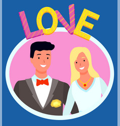 cute wedding couple photo in frame portrait vector image