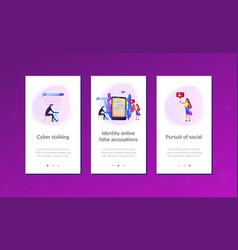 Cyberstalking app interface template vector