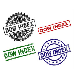 Damaged textured dow index seal stamps vector