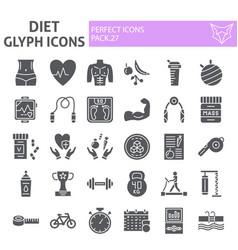 diet glyph icon set sport symbols collection vector image