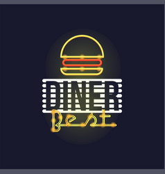 dinner best retro neon sign vintage bright vector image