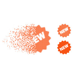Disintegrating pixelated halftone new tag icon vector