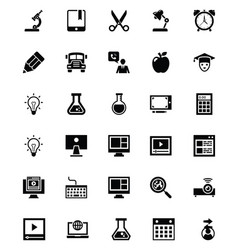 Elearning glyph icons set vector