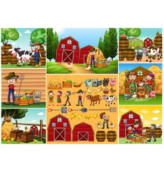 Farmers and animals on the farm vector