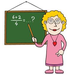 Female maths teacher vector