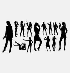 female with gun silhouettes vector image