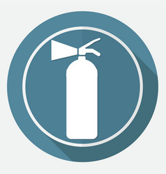 fire extinguisher on white circle with a long vector image
