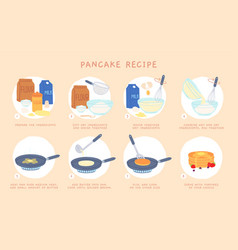 Flat recipe steps baking pancakes for breakfast vector