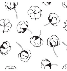 Floral seamless pattern with flower cotton nature vector