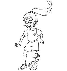 football playing girl line art vector image