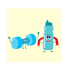 Funny dumbbell and protein shaker characters with vector