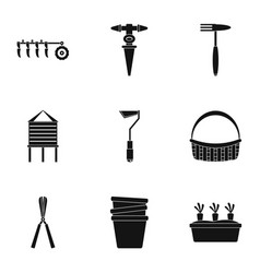 garden tool icon set simple style vector image