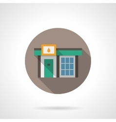 Gas station store round flat color icon vector image