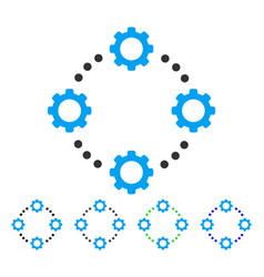 Gear virtual connection flat icon vector