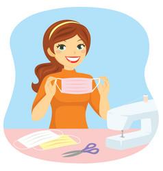 Girl sewing diy masks vector