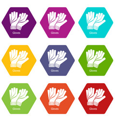 gloves icons set 9 vector image