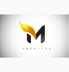 gold m letter wings logo design with golden bird vector image