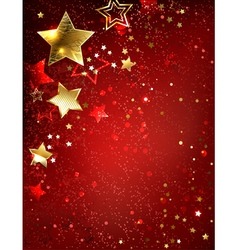 Gold star on a red background vector