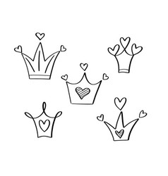 hand-drawn hearts crown icon doodle style vector image
