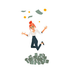 happy girl woman jumping under money rain vector image
