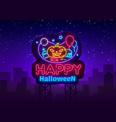 happy halloween neon sign design template vector image
