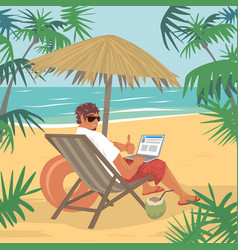 Happy man sitting with laptop on beach vector