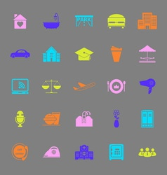 Hospitality business color icons on gray vector image