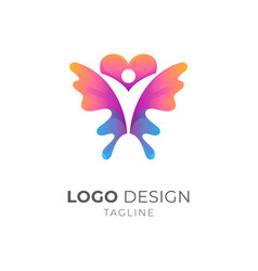 human butterfly logo vector image