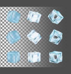 ice cube icon set realistic vector image