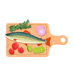 ingredients and spices for cooking fish vector image