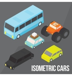 Isometric city transportation objects pack vector image