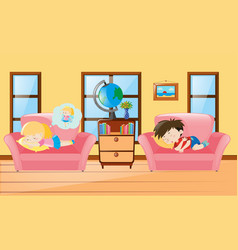 Kids taking nap on sofa vector