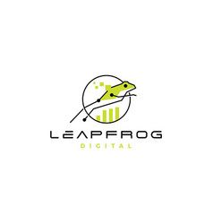 leap frog tech digital chart statistics logo icon vector image