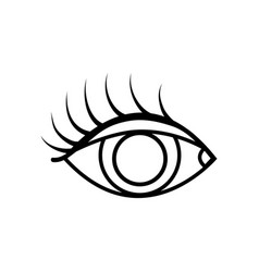 Line vision eye with eyelashes style design vector