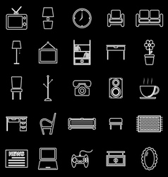 Living room line icons on black background vector image
