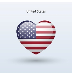 Love United States symbol Heart flag icon vector