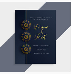 Luxury wedding invitation card design in dark and vector