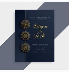 Luxury wedding invitation card design in dark vector