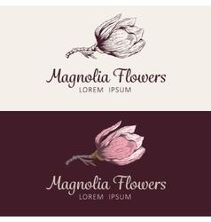 Magnolia flower logo vector image