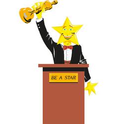 Man holding a golden trophy success concept vector