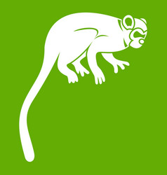Marmoset monkey icon green vector