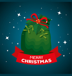 merry christmas celebration with santa claus bag vector image