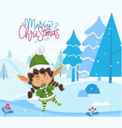 merry christmas greeting card elf stand in forest vector image